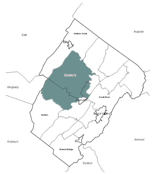 Rockbridge County Map with Kerrs Creek District Highlighted