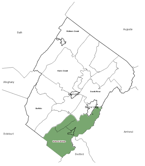 Map of Rockbridge County with Natural Bridge District Highlighted
